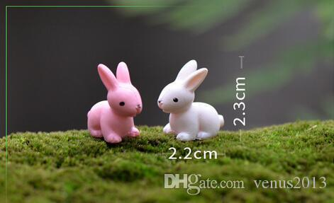 Fairy Garden Miniature lapin lapin blanc ou rose couleur artificielle mini lapins décors résine artisanat bonsaï decors Easter Bunny