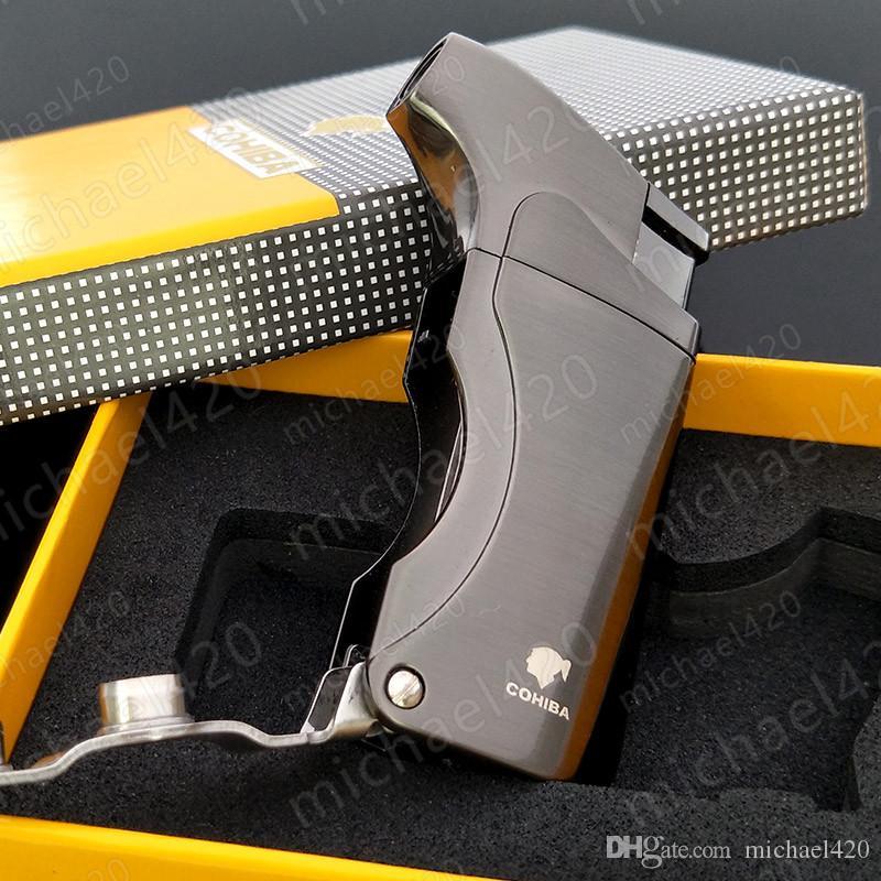 패션 성격의 특수 제작 COHIBA JET FLAME 가스 연료없이 흡연을위한 금속 가스 팽창 식 사용