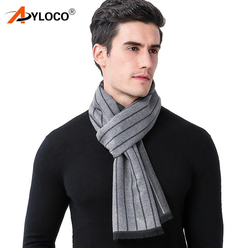 a756ad5db5092 2018 Fashion brand Design Men s Winter Scarf Warm hijab Male Neck Scarves  Striped man Business Cashmere Scarf Gifts
