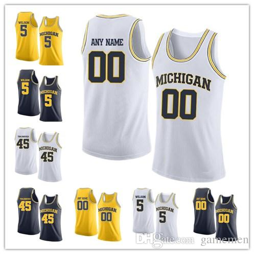 d1d15f42d 2019 Custom Michigan Wolverines College Basketball White Gold Navy Sewn Any  Name Number 45 Tomjanovich 5 Wilson 42 Tarpley Men Jersey From Gamemen