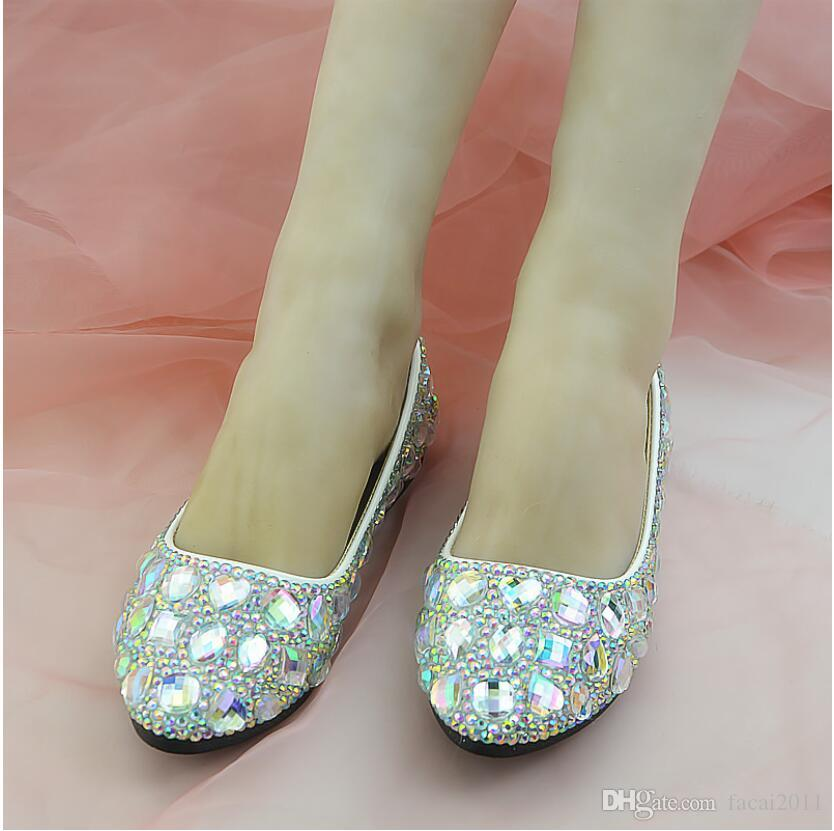 Nuevo 2018 Flat White Gem AB Zapatos de cristal de diamantes Zapatos de club nocturno Zapatos artesanales Mujeres Banquete Blanco de tacón alto Individual de mujer