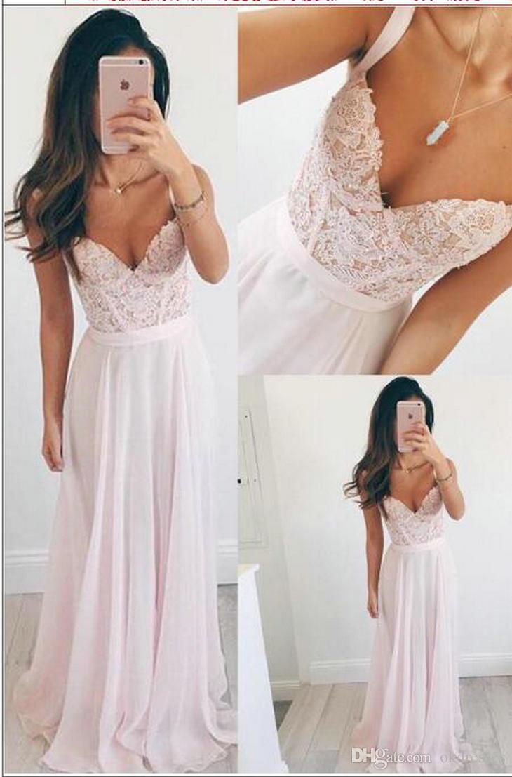 abiti da ballo prom dresses long Nuovo stile chiffon rosa pizzo spalle con scollo a V abiti da damigella d'onore CK030