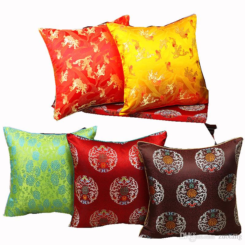 Colorful Floral Christmas Large Cushion Covers Home Decorative Luxury Pillow Cover Vintage Silk Satin Throw Pillow Case