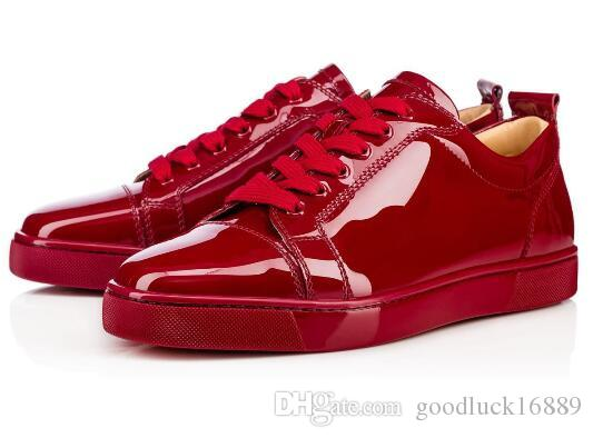 4784bdb2e1c3 Elegant Low Top Sneakers Junior Flat Red Bottom Shoes Women Men Trainers  Patent Leather Lace Up Luxury Party Dress Shoe High Heel Shoes Nude Shoes  From ...