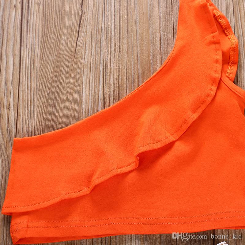 Ins ragazze dei capretti di modo bambino fuori arancio spalla Pantaloncini jeans strappati volant abiti con estate boutique di abbigliamento 2-7Y