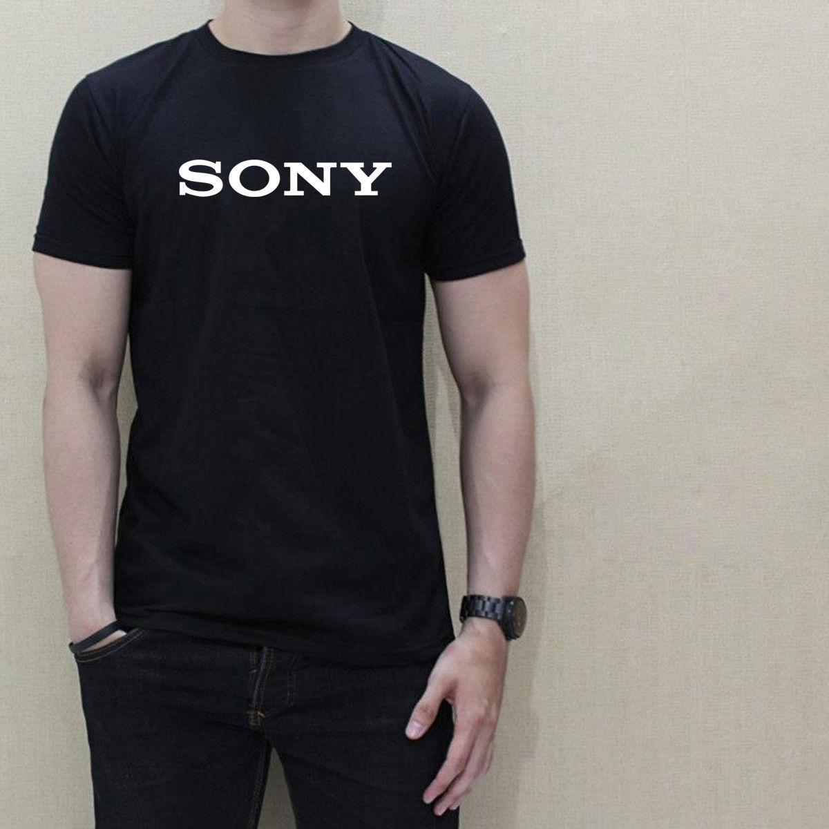 192e00e3e41 SONY LOGO MOBILE MEDIA Men Black White T Shirt 100% Cotton Graphic Tee  Summer Hot Sale New Tee Print Men Tee Shirt Casual Man And T Shirts As Tee  Shirts ...