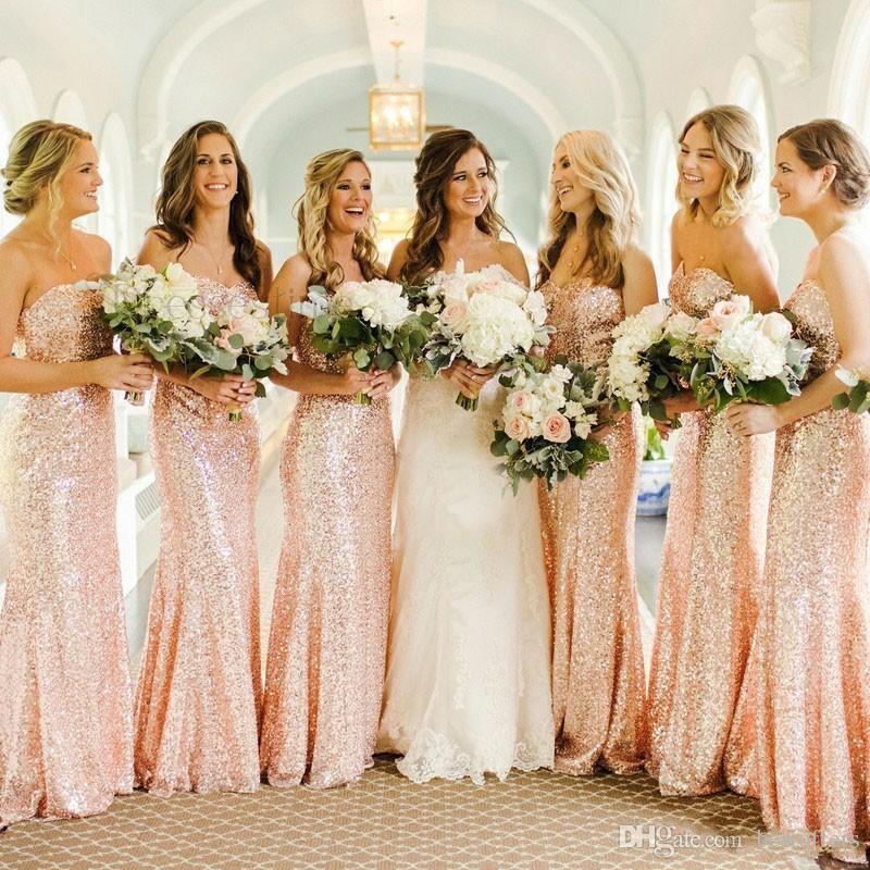 6719c421d Compre Rosa De Oro Lentejuelas Sirena Vestidos De Dama De Honor 2019  Baratos Por Encargo Cariño Boda Larga Vestido De Invitados Vestidos De  Fiesta Por La ...