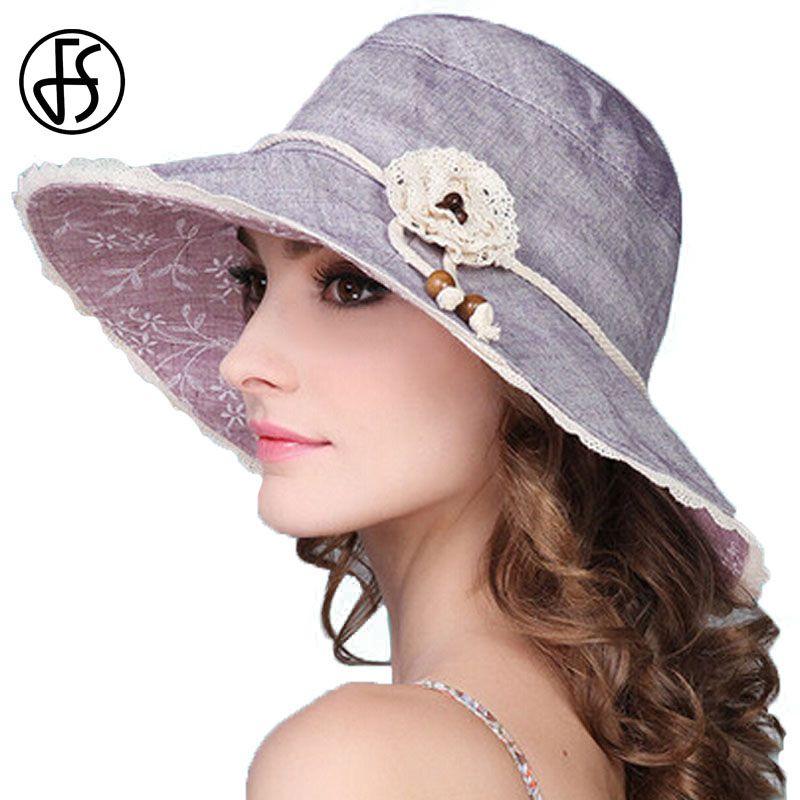 ef6677852ae28a FS Summer Foldable Sun Hat For Women Flowers Large Wide Brim Visor Beach  Hats Girl UV Protect Cap Beige Pink Purple Dark Gray Sun Hats Sun Hat From  Juemin, ...