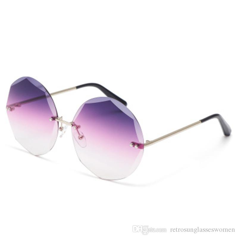 195175548fe 2018 New Gradually Changing Color Round Sunglasses Cut Edge Womens UV400  Adumbral High Quality Frameless Eyewear AC Lens Sale Suncloud Sunglasses  Foster ...