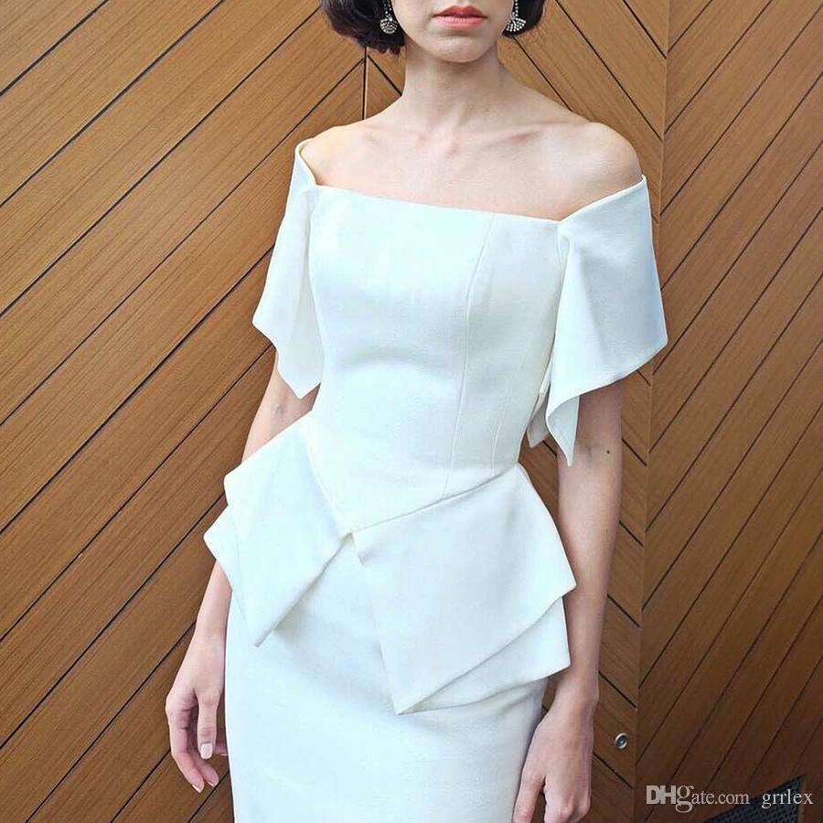 2a11909be905e Slim Off Shoulder Fitted Stretch Slim Wiggle Pencil Dresses Summer White  Cocktail Dress Women Elegant Ruffle Sleeve Party Wear To Work