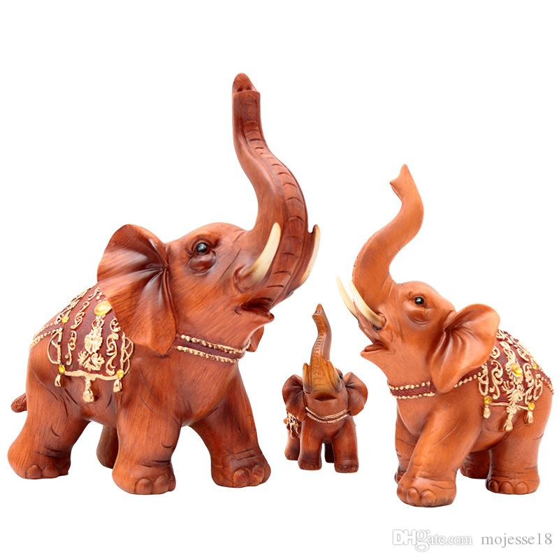 MOJESSE Auspicious Lucky Elephant Resin Craft Creative Animal Elephant Decoration Home Living Room Creative Figurines Housewarming Gifts