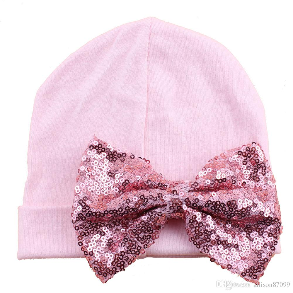 Maternity supplies Hat for newborn Baby Beanie Cute Sequins bow knit hat 2018 Spring Autumn Cotton wholesale 0-3months