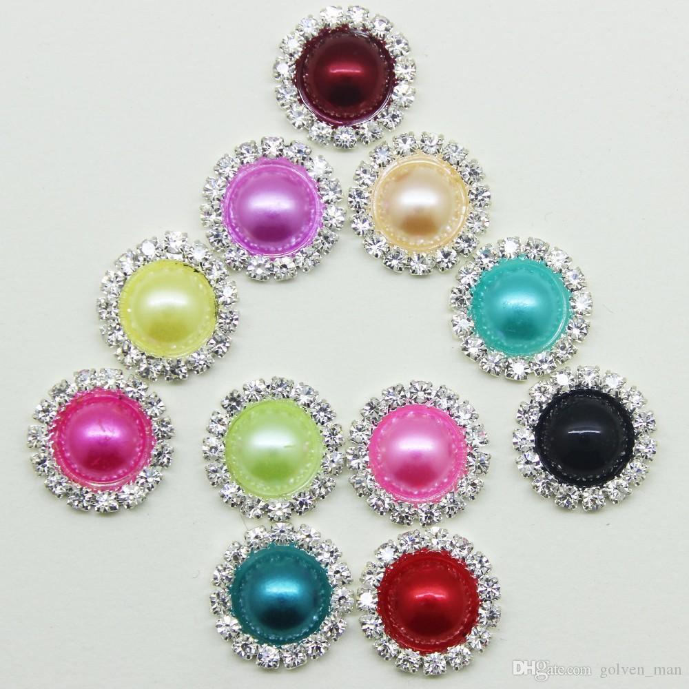 New 16mm Colorful Round Pearl Buttons Flatback Brooch Crystal for Wedding Bouquet Child Hair Ribbon Decorative