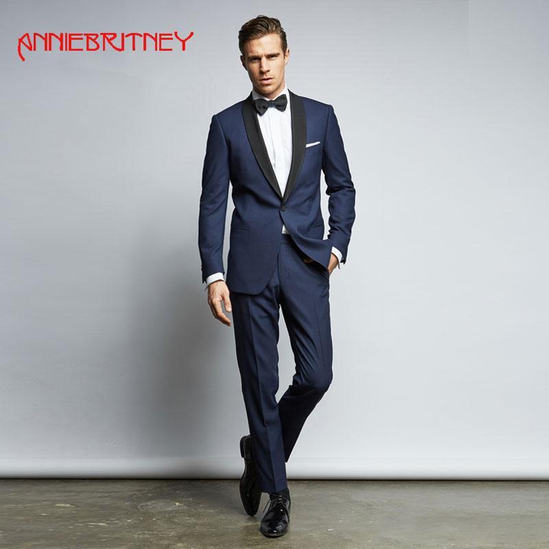 sports shoes aa734 85df6 2018 Marineblau Männer Anzug für Hochzeit Abendgesellschaft Satin Schal  Revers klassische Jacke benutzerdefinierte Blazer Slim Fit formale Smoking  2 ...