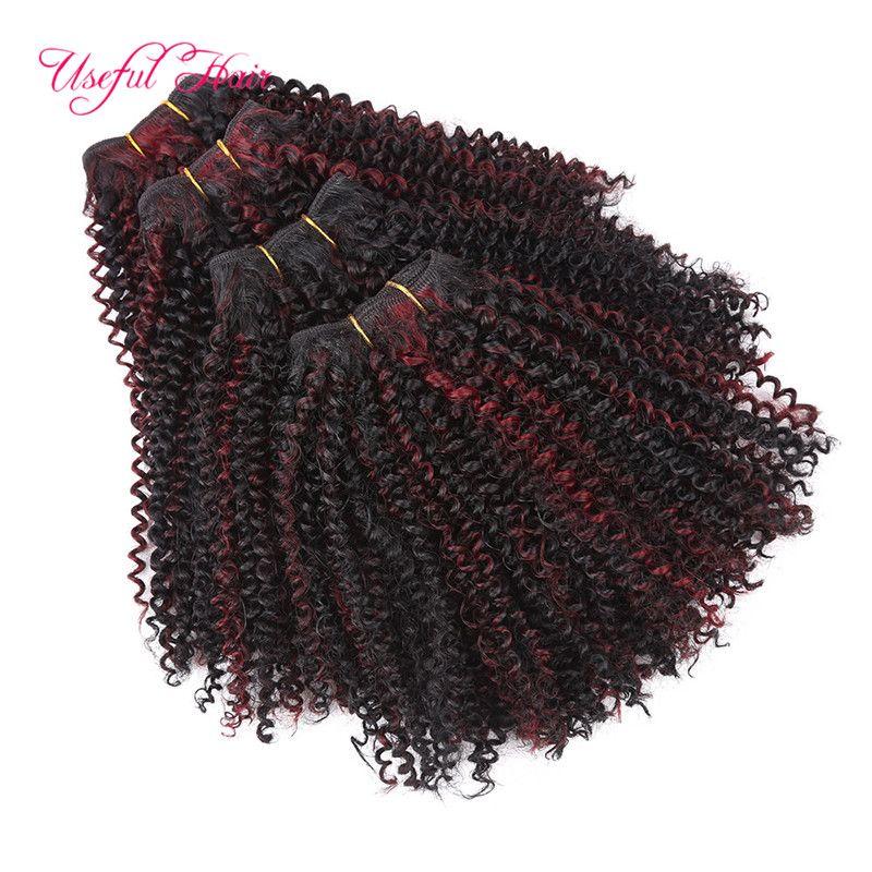 fasihon 2018 sapıkça kıvırcık Sentetik saç örgü demetleri 200g 12inch Brezilyalı saç kütikül hizalanmış saç demetleri