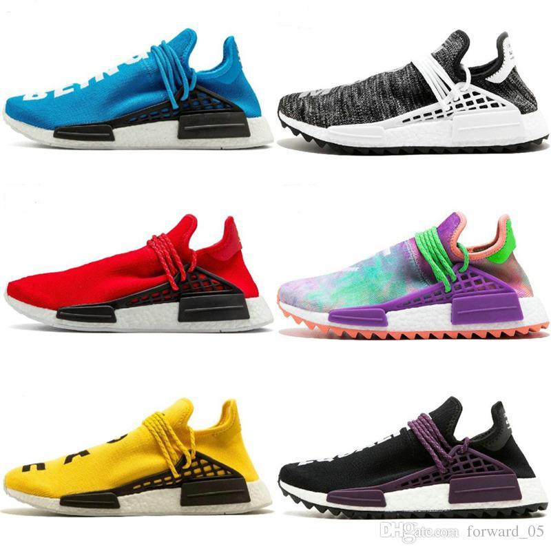 1ab775e1f31ec 2019 Cheap Human Race Pharrell Williams Hu Trail Cream Core Black Nerd  Equality Holi Nobel Ink Trainers Mens Women Sports Sneakers Running Shoes  From ...