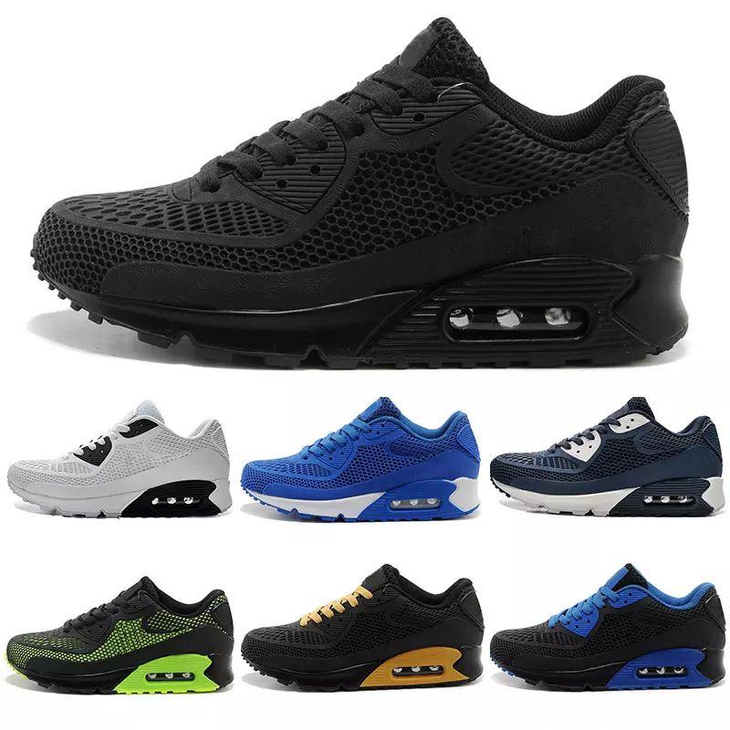 the latest 3b785 96a42 Compre Nike Air Max 90 Kpu Airmax 2018 Nova Tênis De Corrida Almofada 90 KPU  Homens Mulheres Tênis De Alta Qualidade Barato Tudo Preto Chaussure Homme  ...