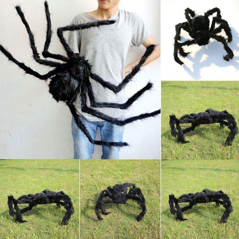 Halloween prop spider stuffed toys haunted house decor Horrible Big Black Furry Fake Spider 30cm 50cm 75cm