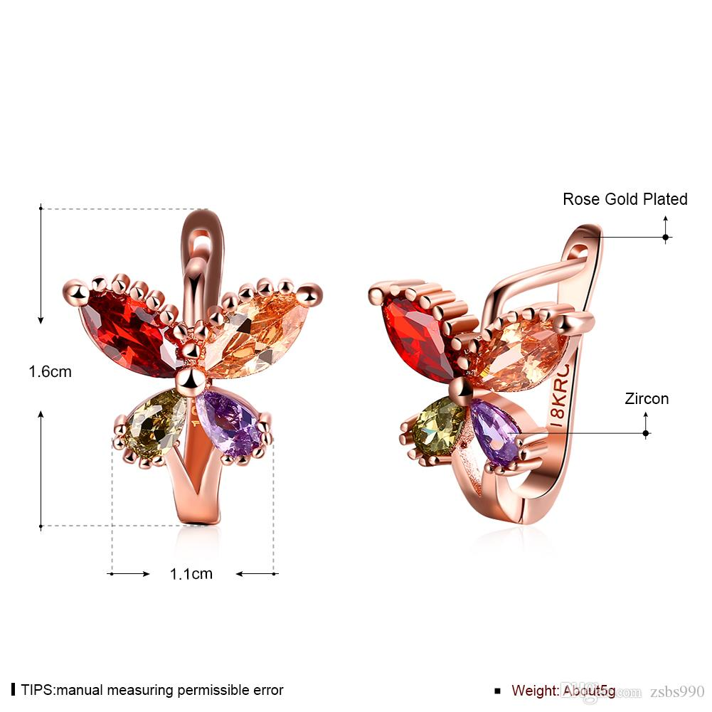 Factory Price Wholesale 18K Rose Gold Plated Charm Butterfly Clip Earrings with Zircon Fashion Party Gift Jewelry For Women