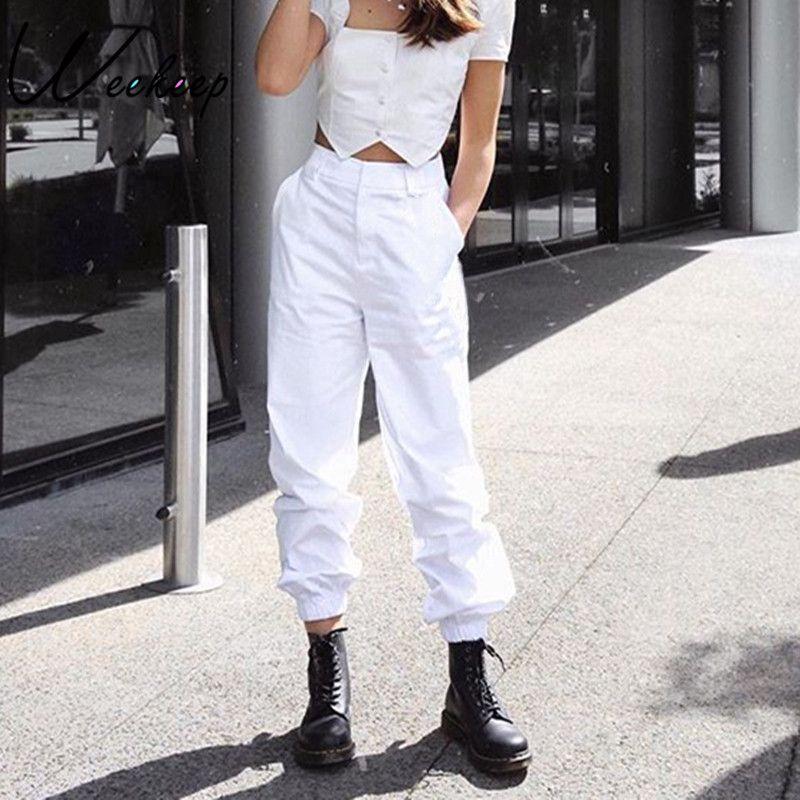 5fc55f5fa4 Compre Weekeep Pantalones De Cintura Alta De Las Mujeres Bolsillos  Ocasionales De La Cremallera Pantalones De Tobillo Ol Para Mujer Pantalones  De Moda De ...
