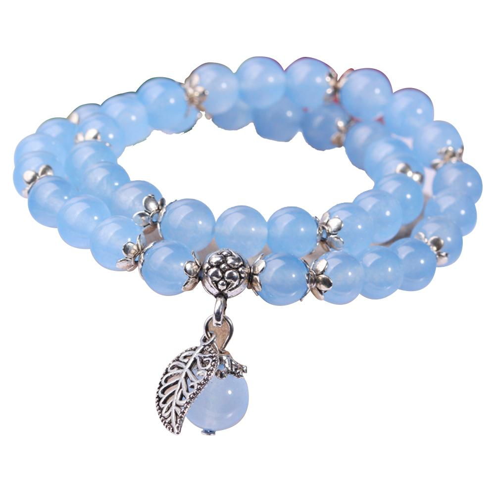 351c009aa854c Pink/Blue Crystal Bracelets Round Beads Lucky Tibetan Silver Leaf Pendant  Lovers Fashion Bracelet Multilayer Women Jewelry