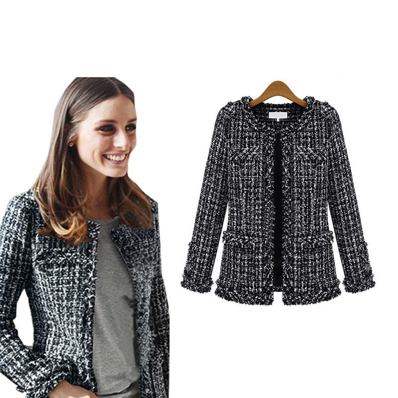 b706c015f2800 2016 Women Fashion Coat Autumn Winter Thin Black Checkered Tweed Casual Plaid  Jacket Outerwear FS0273 S1031 Leather Jackets Jacket From Ruiqi03