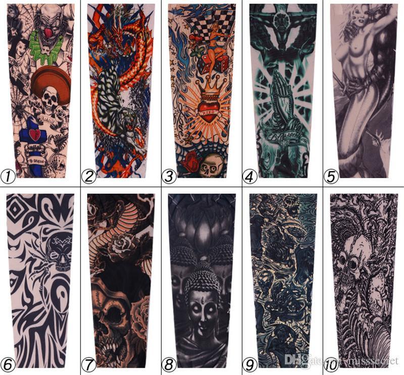 Fashio 탄력있는 문신 슬리브 UV 케어 타기 쿨 프린트 일 - 방지 팔 보호 장갑 가짜 임시 문신