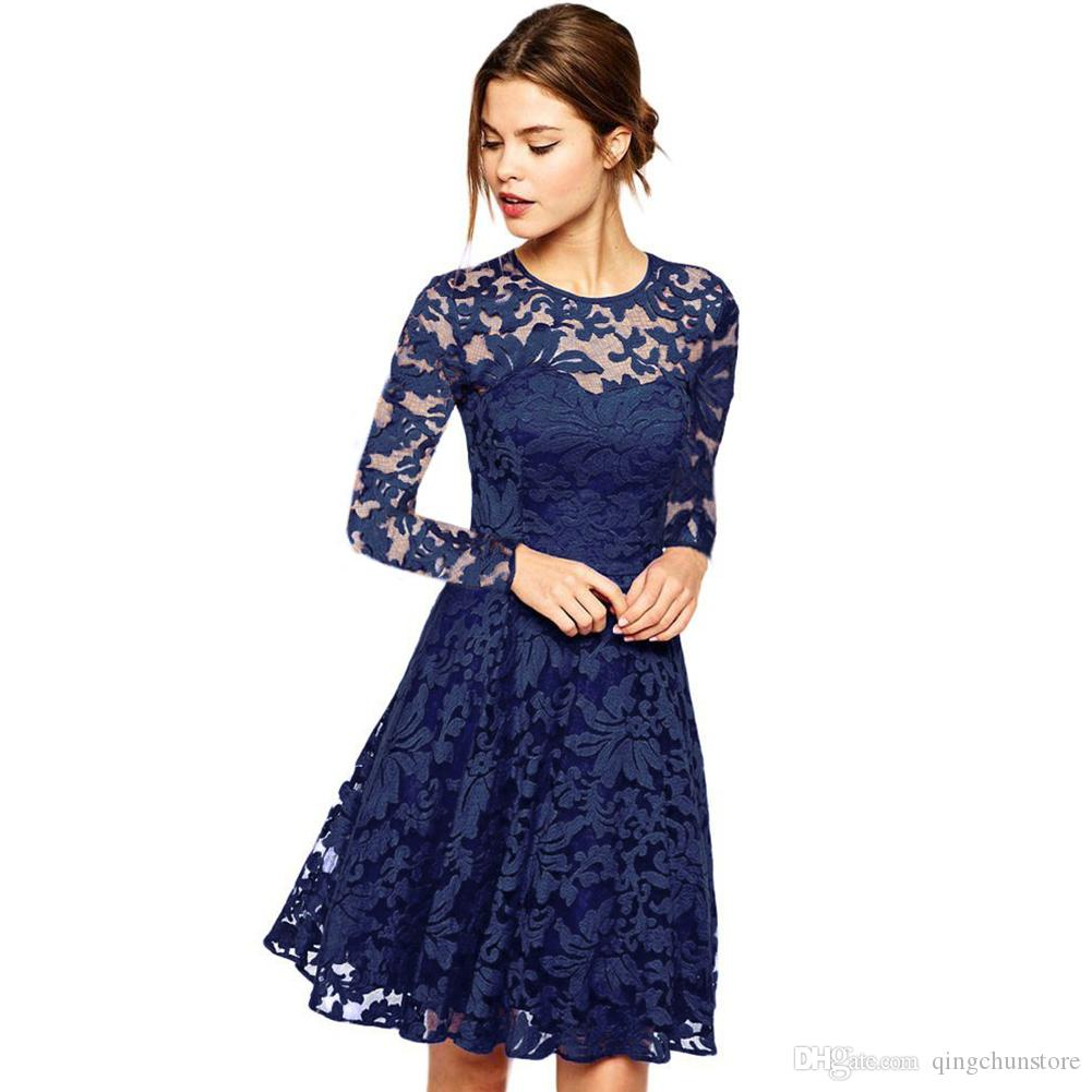 b0e277d3b716d ALABIFU 2018 Autumn Summer Dress Women Sexy Hollow Out Lace Dress Elegant  Casual Short Sleeve Ball Gown Party Dresses vestidos