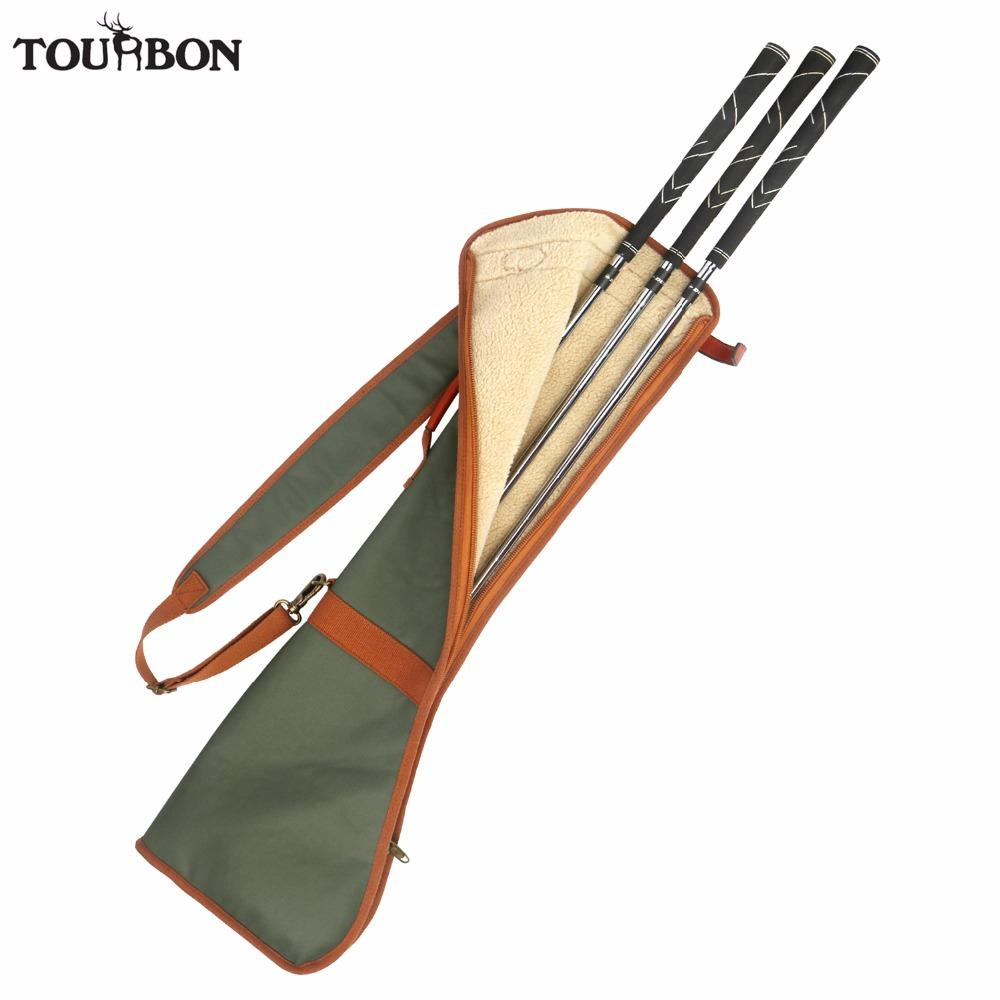 Tourbon Retro Golf Club Carrier Pencil Style Waxed Canvas & Leather Golf Gun Bag Fleece Padded Clubs Interlayer Cover 80CM