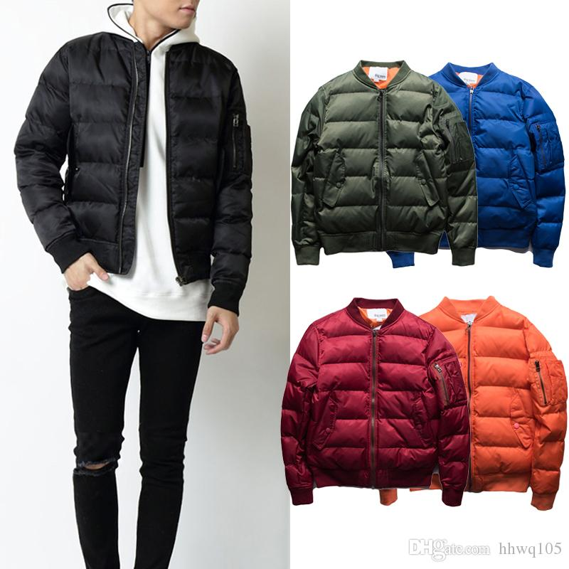 99dd93ffc Winter Puffer Jacket For Men Classic MA-1 Flight Bomber Jackets Long Sleeve  Zip-Up Quilted Parka Coat Skiing Skate Overcoat OSG0804