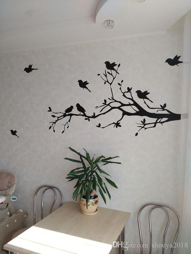 Large size 147cmx71cm Vinyl Tree Branch with 10 birds Wall Decal Removable Wall Sticker Home Decor Art Mural,T3003