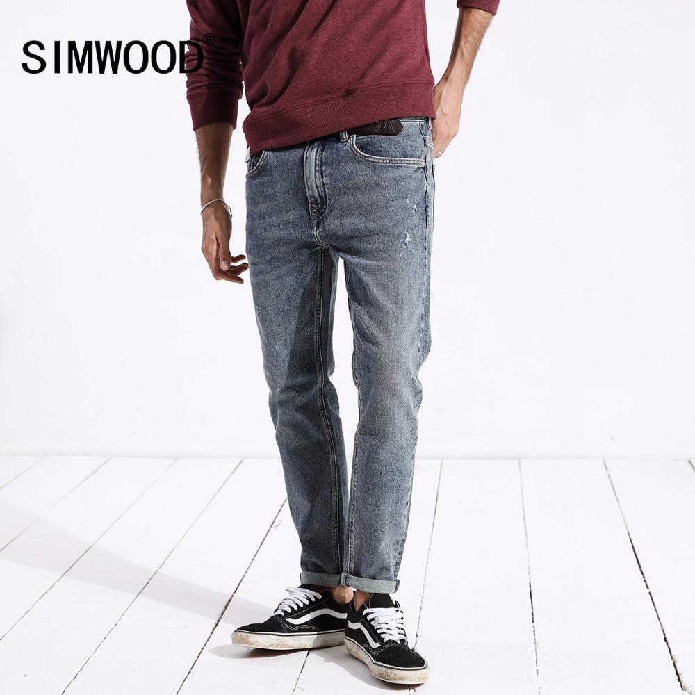 ffb948b807d4e SIMWOOD Heißer Verkauf 2018 Jeans Männer Neue Mode Lässig gloria jeans  Dünne Gerade Männliche Plus Größe Denim-hosen Hohe Qualität 180306