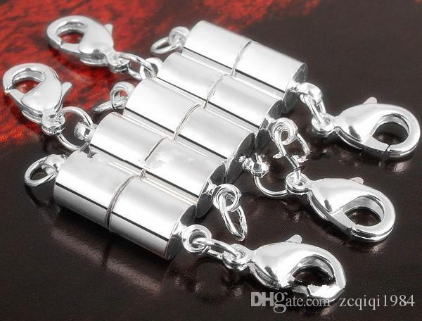 أحدث الفضة / مطلية بالذهب المغناطيسي المغناطيس قلادة المشبك اسطوانة شكل المشابك للقلادة سوار مجوهرات diy