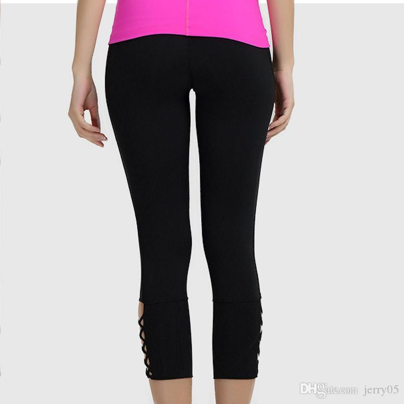 High Sports Lace Up Yoga Leggings Quick Dry Pants Women Mesh zqEBX