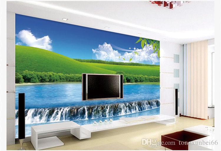 Özel 3D fotoğraf duvar kağıdı Scenic şelale Orman Duvar Kağıdı oturma TV kanepe arka plan duvar 3D doğa manzara duvar kağıdı