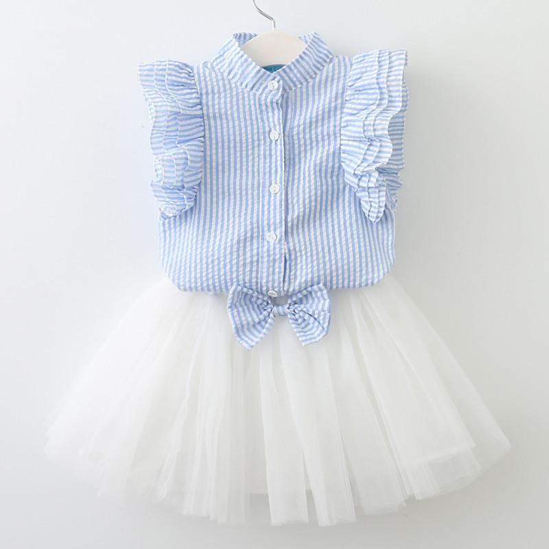 634917e736f2d Satın Al 2018 Yaz 2 Parça Set Çocuklar Küçük Kızlar Kollu Kıyafetler Dikey  Çizgili Gofre Gömlek Etek Çocuk Giyim Suits, $16.09 | DHgate.Com'da
