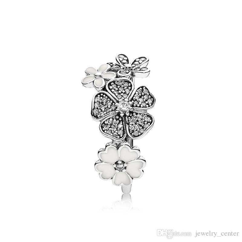 أصيلة 925 فضة الأبيض مينا زهرة خواتم مربع الأصلي ل باندورا الفضة مجوهرات للنساء خاتم الزواج الكريستال الطبيعي