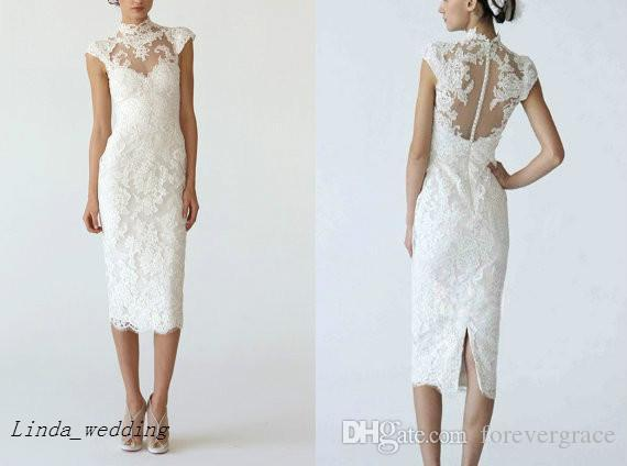 a104820163a White Lace Knee Length Wedding Dress Wedding Sheath Column High Neck Pencil  Dress Bridal Gowns Expensive Wedding Dresses Fitted Wedding Dresses From ...