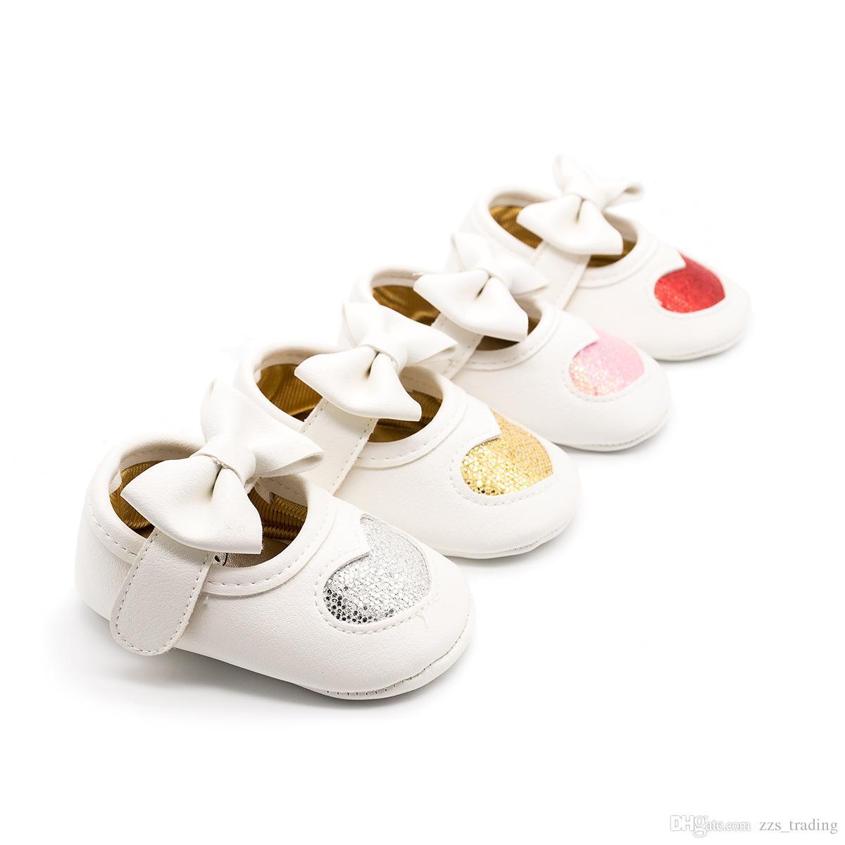 84267d93b022c Acheter 4 Couleurs Bébé Filles Princesse Chaussures Bébé Mignon Chaussures  Premier Marcheur Toddler Enfants Filles Coton Coeur Sequin Infantile  Semelle ...