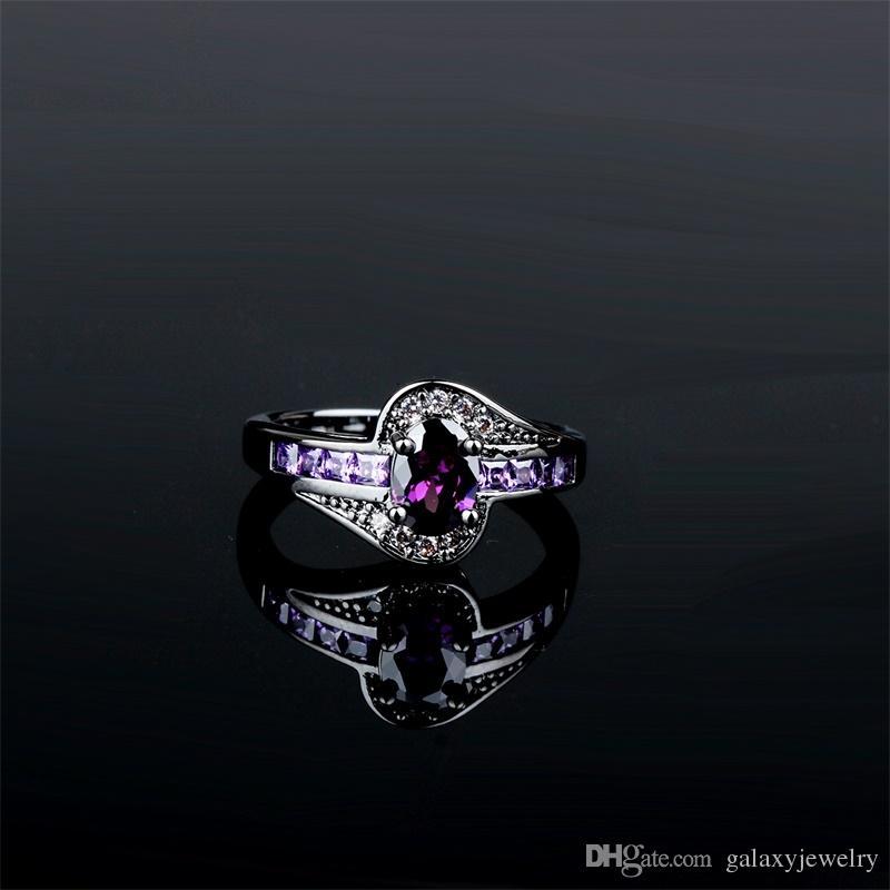 YHAMNI 여성 보라색 타원형 다이아몬드 반지 패션 블랙 골드 보석에 대 한 빈티지 결혼 반지 생일 돌 선물 R042
