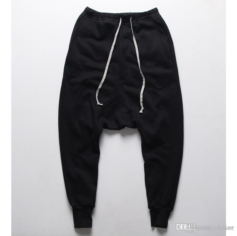 Compre Al Por Mayor Mens Joggers Pantalones Casuales Pantalones Harén  Hombres Negro Moda Swag Danza Gota Entrepierna Hip Hop Pantalones De Sudor  Pantalones ... d22fd720122