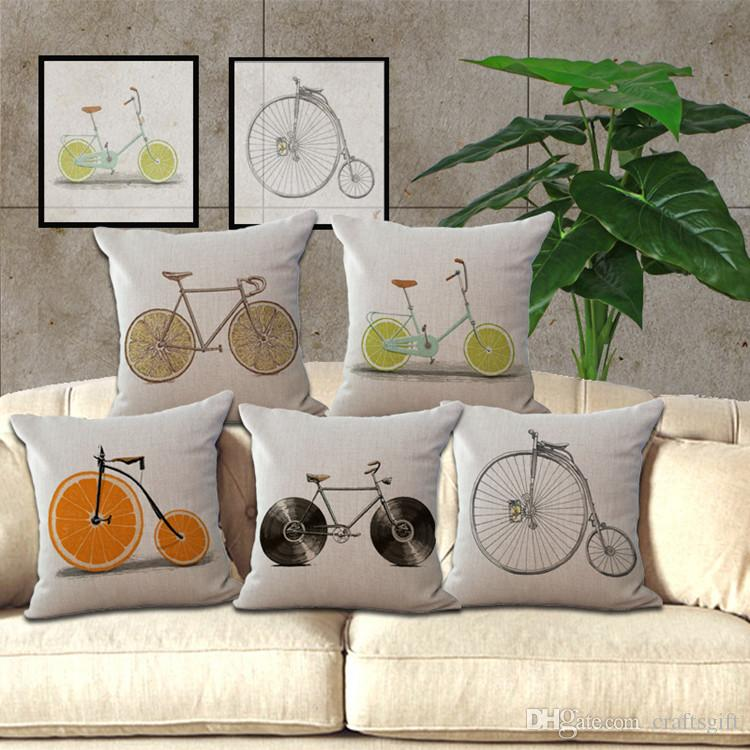 Cushion Covers Fruits Bicycle Pillow Cover Cotton Linen Square Pillowcase Bedroom  Living Room Sofa Decorative Throw Pillow Case Patio Throw Pillows Patio ...