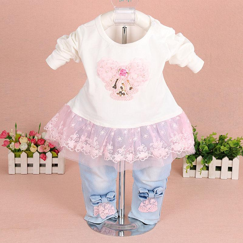 aef2375bc 2019 Baby Girl Clothes 2018 Brand Fashion Lace Floral Denim Jacket +T Shirt  +Jeans Little Kids Suit Set Toddler Infant Baby Suit Clothing From  Sport_xgj, ...