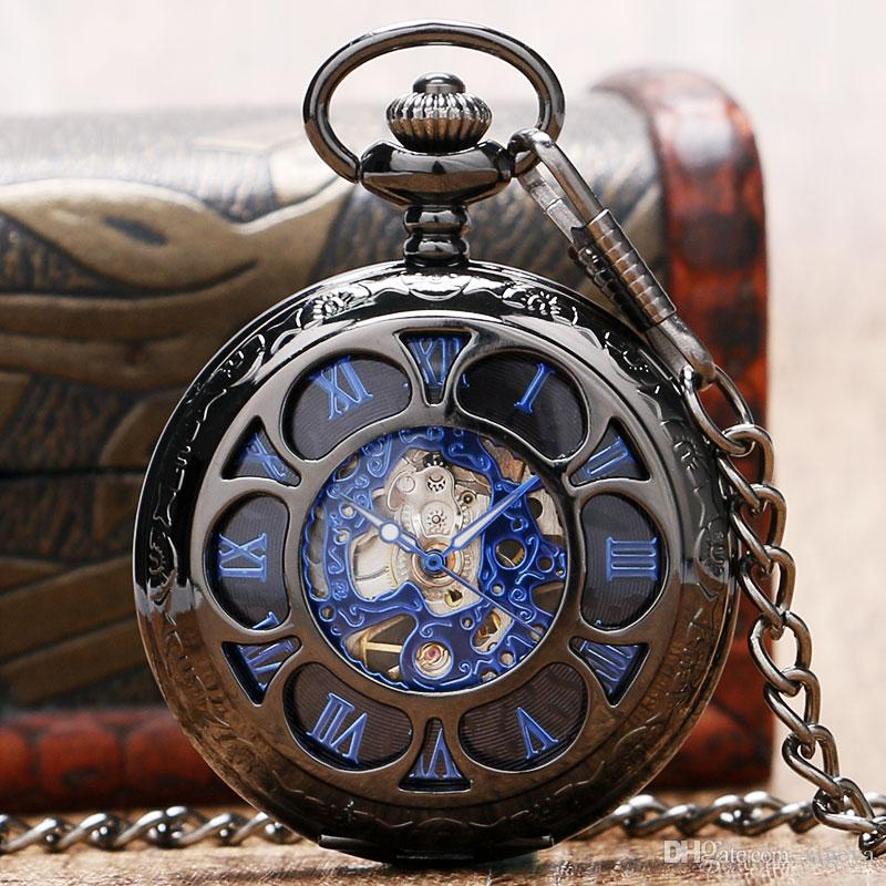 luxury black mechanical hollow skeleton pocket watch roman numerals