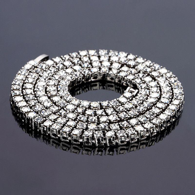20 24 30 بوصة قلادة القلائد للرجال الهيب هوب بلينغ مثلج خارج تنس سلسلة 1 صف الماس قلادة الذهب والفضة اللون XH