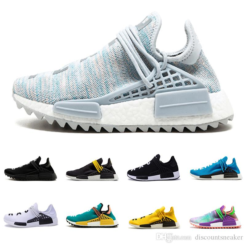 new products 8ae13 fbba8 Human race Pharrell x hu Trail cream white Core black BBC equality nerd  Holi Canvas men women sports sneaker trainer running Shoes 36-45