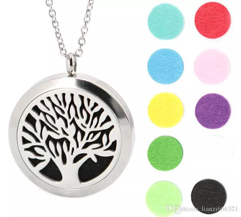 Silver Tree Of Life Luminous Pendent Necklace 7 Pcs Felt Pads Aromatherapy