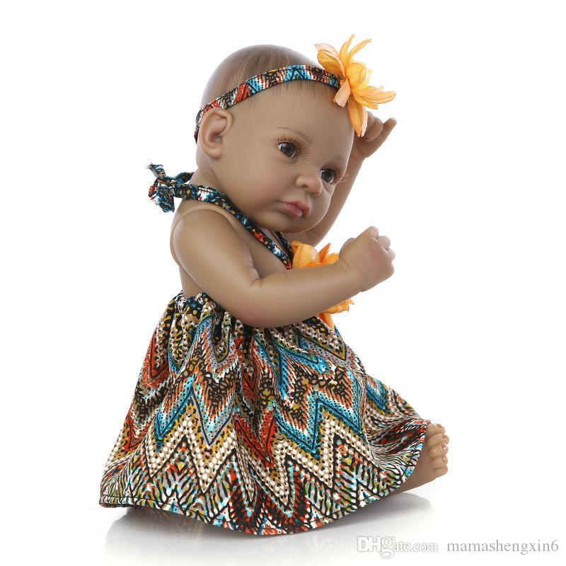 New 27cm African American Baby Doll Black Girl Boy Doll Full Silicone Body Reborn Baby Dolls Children Gifts Kids Play House Toys