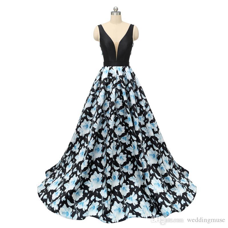 2020 Seksi Baskılı Çiçek Gelinlik Modelleri Abiye Giyim V Yaka Kolsuz Backless A Hattı Balo Uzun Örgün Parti Elbise