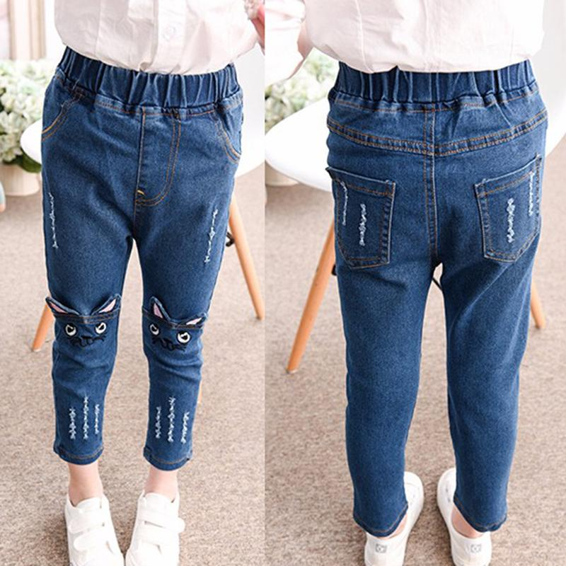 Girls Jeans 2017 Cartoon Cat Plus Size Baby Girls Pants Slim Skinny Kids Leggings Cotton Casual Children Girls Clothes 2507B